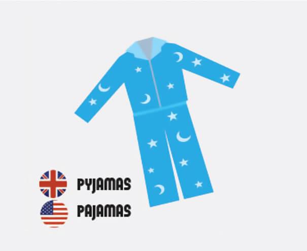 イギリス英語とアメリカ英語の違い、パジャマ