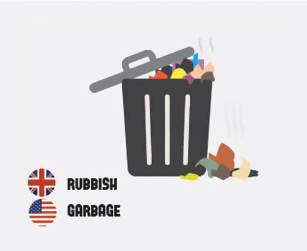 イギリス英語とアメリカ英語の違いゴミ