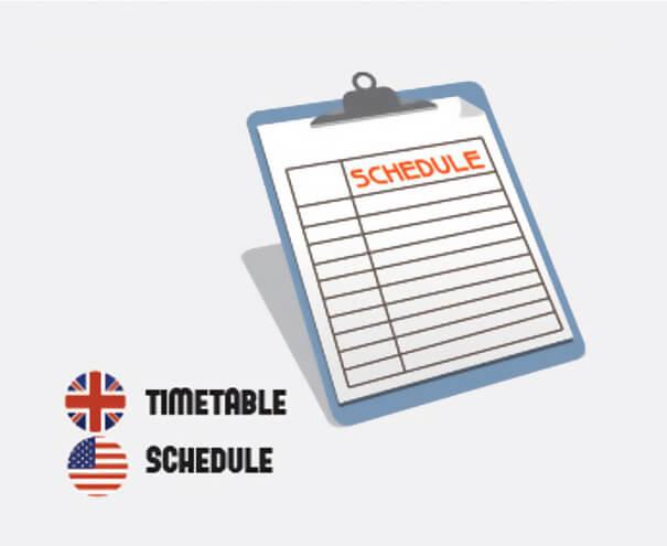 イギリス英語とアメリカ英語の違いスケジュール