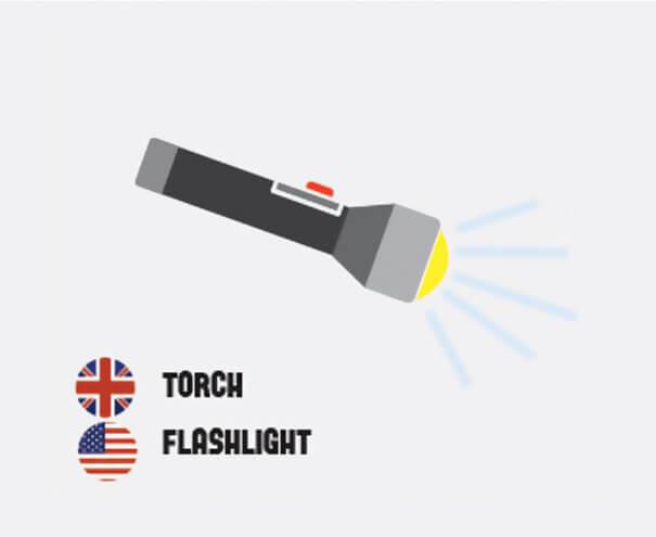 イギリス英語とアメリカ英語の違い懐中電灯