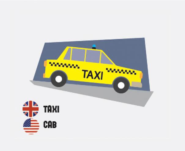 イギリス英語とアメリカ英語の違い、タクシー
