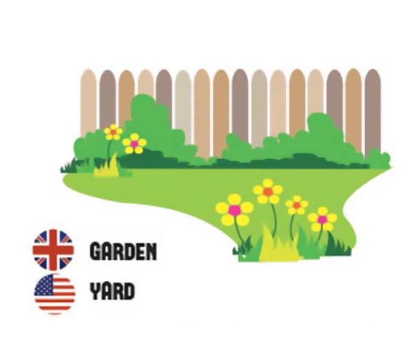 イギリス英語とアメリカ英語の違い、庭