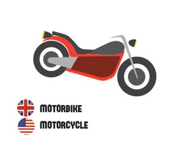 イギリス英語とアメリカ英語の違い、バイク