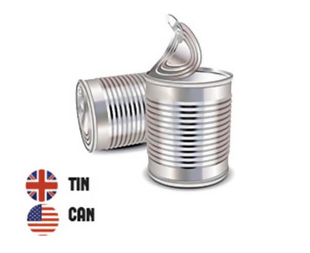 イギリス英語とアメリカ英語の違い、缶