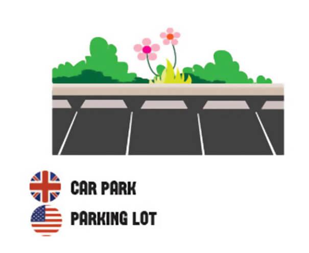 イギリス英語とアメリカ英語の違い、駐車場