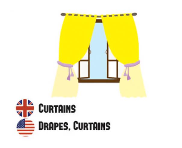 イギリス英語とアメリカ英語の違い、カーテン