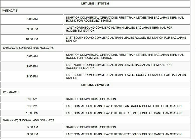 マニラLRTの時刻表