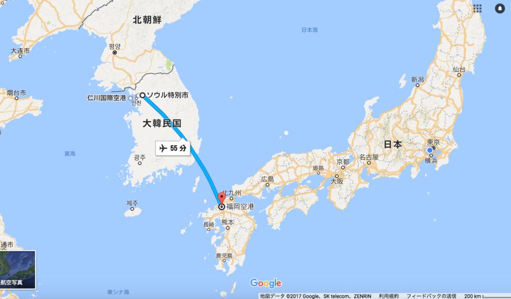 福岡とソウル間の飛行時間と距離