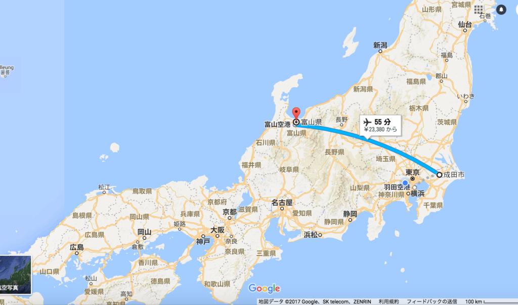 東京の成田空港から富山の飛行機での距離と時間