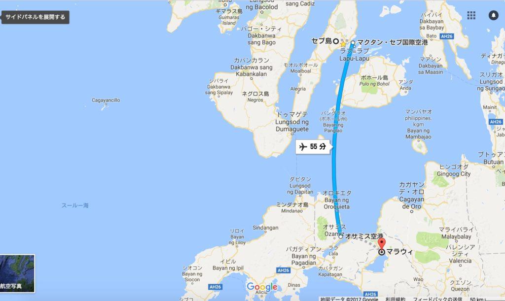 セブ島からマラウィの飛行機距離