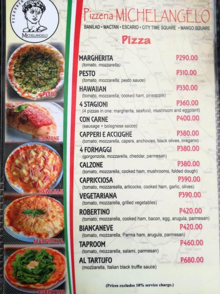 ミケランジェロのピザメニュー