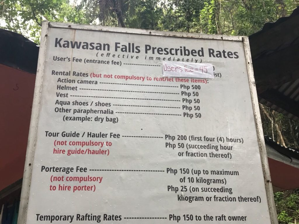 カオサン滝の入場料